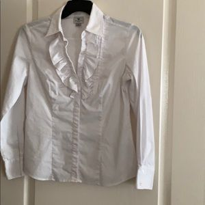 White ruffle front blouse by Worthington - size S